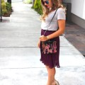 TJ Maxx - purple - pleated skirt - midi skirt - Northwest Blonde