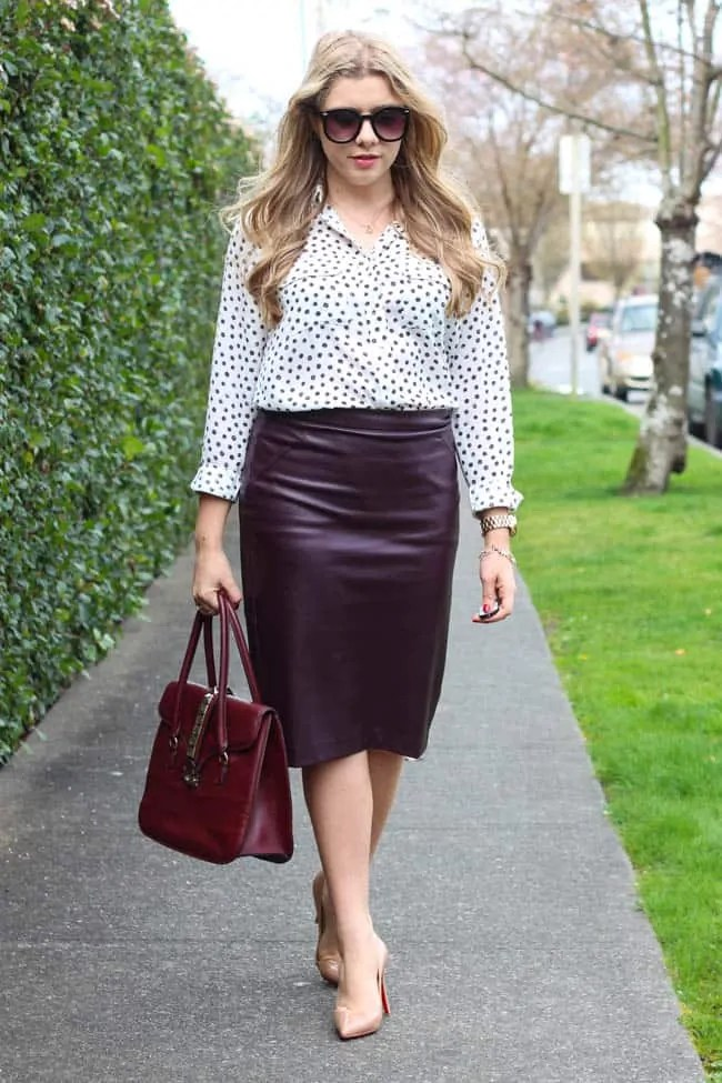 faux leather pencil skirt is the new office staple