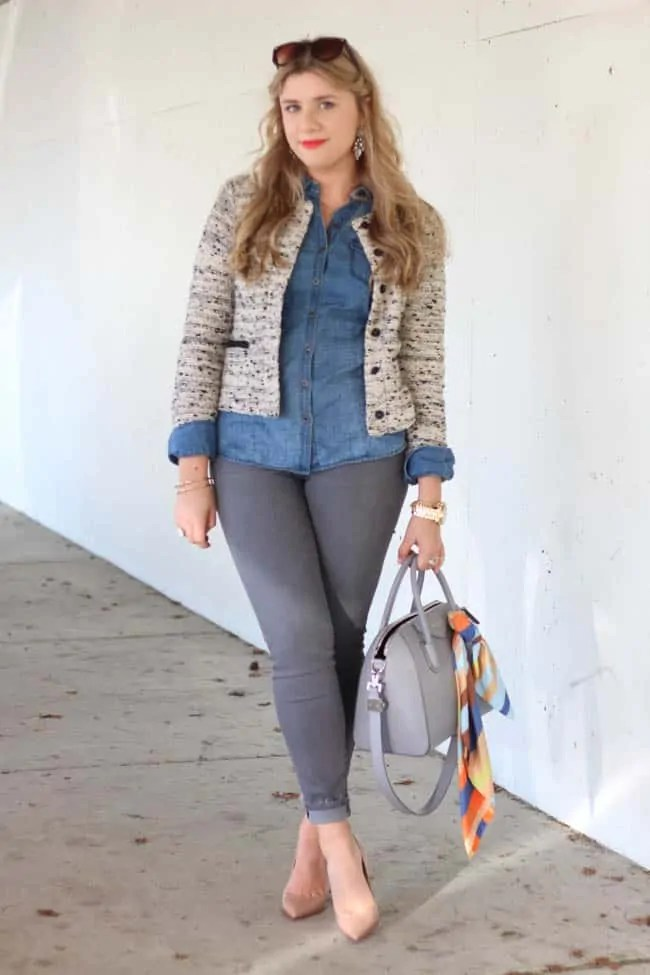 grey denim and chambray