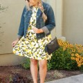 zara lemon dress - nordstrom denim jacket - chanel flats-3