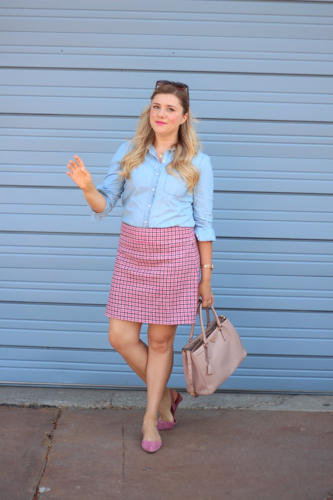 how to wear pink - J.Crew mini skirt - Prada Saffiano