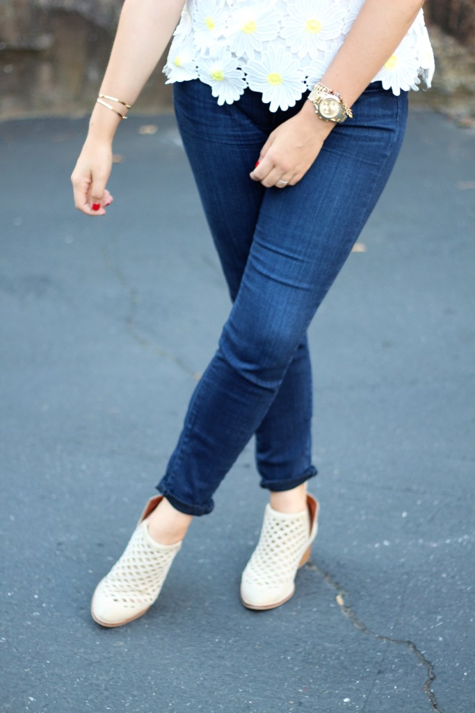 rachel parcell daisy top - northwest blonde - why I don't wear jeans - jeffrey campbell ankle boots
