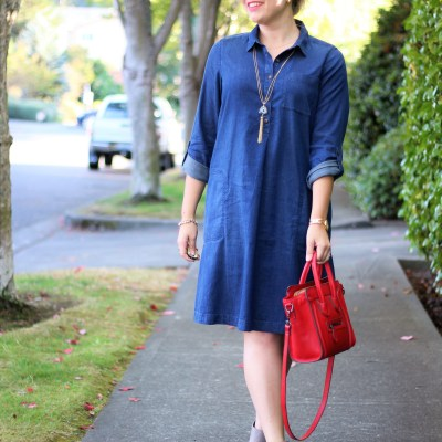 j.jill denim dress - chambray dress - vince addie - easy fall outfit