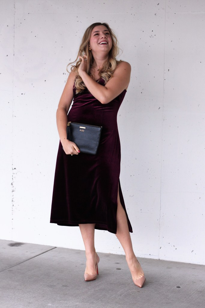 velvet slip dress - holiday party style - louboutin pumps