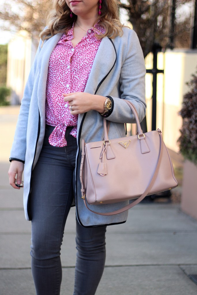 pink heels - pink prada saffriano - madewell high riser jeans - valentines day outfit ideas - casual valentines day outfit