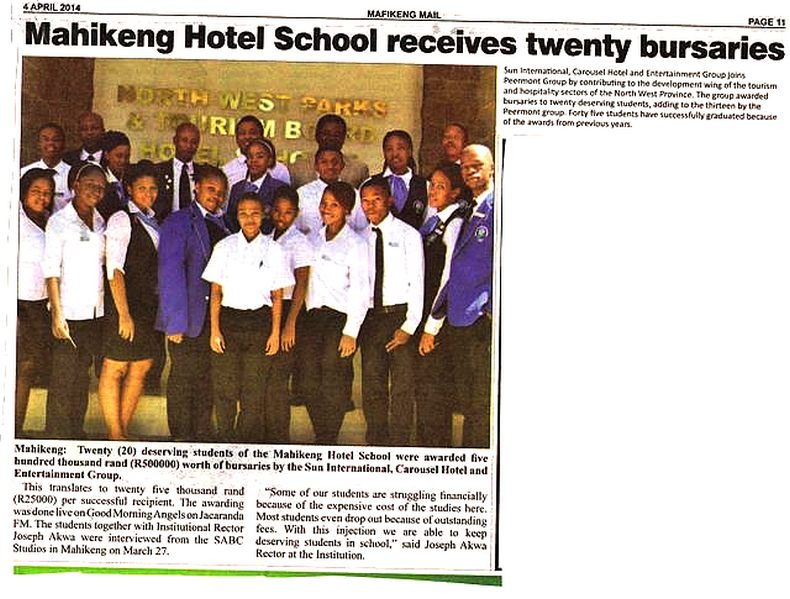 Mahikeng Hotel School receives twenty bursaries