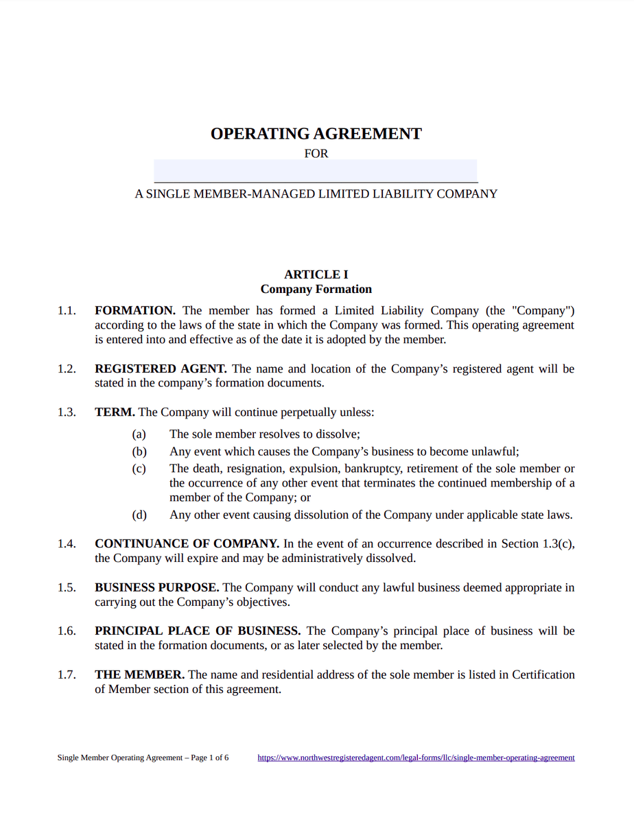 company name opera ting agreement. Free Single Member Llc Operating Agreement Template