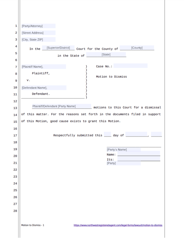 MOTION TO DISMISS Free template form