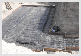 Base of Bomb Shelter Design Being Constructed