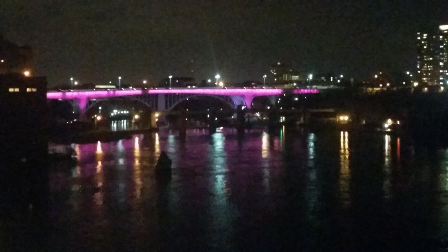 I-35W Bridge over the Mississippi lit in honor of NET Cancer Day