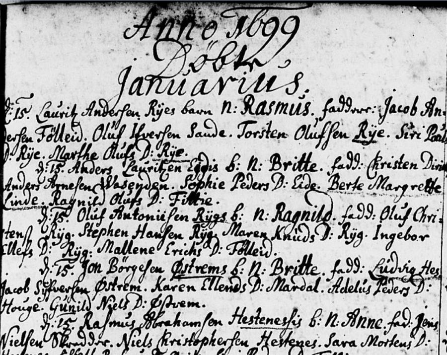 Gloppen 1699, alle tre navn er ført inn.