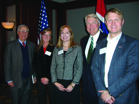 Staff at the Minneapolis Honorary Consulate include: Honorary Consul General Walter Mondale, Consular Officer Christine Carleton, Director of Education and Research Ellen Ewald, Honorary Consul Gary Gandrud, and Director of Business and Innovation Anders Davidson. Not pictured is Pastor Anne Løyning. Photo Credit: Jeff Mueller.