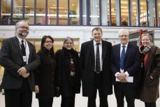 The Norwegian Minister of Petroleum and Energy Terje Riis-Johansen visits the ZEB lab, February 12. Left to right: Terje Jacobsen (SINTEF), Marit Thyholt (SINTEF), Anne Grete Hestnes (NTNU), Terje Riis-Johansen (Minister of Petroleum and Energy), Torbjørn Digernes (Rector, NTNU), Unni Steinsmo (CEO, SINTEF).