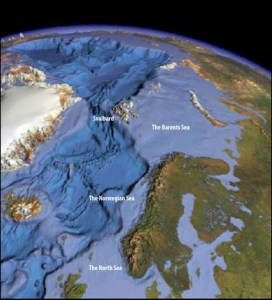 The Norwegian continental shelf is divided into the North Sea, the Norwegian Sea and the Barents Sea. Google Image.