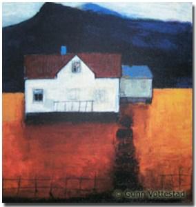 """Hus nordpå"", by Gunn Vottestad. Serigraphy, 26 X 26,3 cm"