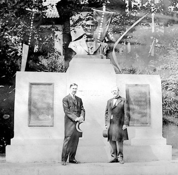 This historic photo shows Gov. Louis Hanna and Smith Stimmel in front of the Abraham Lincoln statue in Oslo, Norway, The photo was contributed by Gustav and Dorthea Renden.