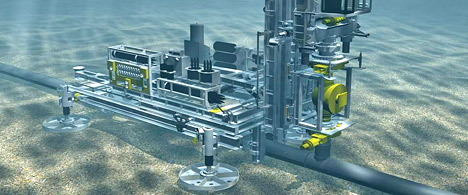 The picture is an illustration of the hot tap system ready for drilling above a valve on the sea bed. Photo courtesy StatoilHydro.