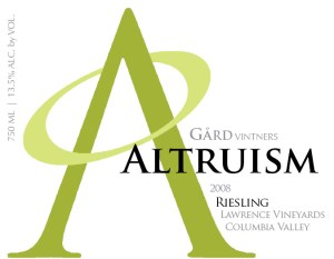 A portion of Gård Altruism Riesling proceeds will be donated to
