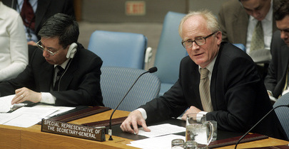Kai Eide, Special Representative of the Secretary-General and Head of the United Nations Assistance Mission in Afghanistan (UNAMA), addresses a Security Council meeting on the situation in that country. UN Photo/Devra Berkowitz.