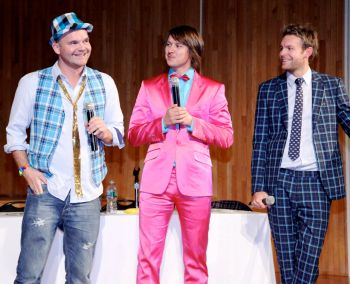From left: Simen Staalnacke, Stefan Dahlkvist and Peder Børresen dressed in their own colorful creations at FIT in NYC. Photo by Berit Hessen.