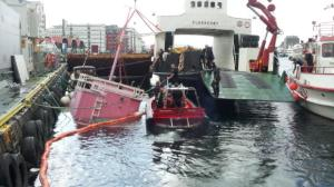 Here is the boat at the wharf in Bergen. The boat sank completely to the bottom.  Photo: Thorgrim Holte