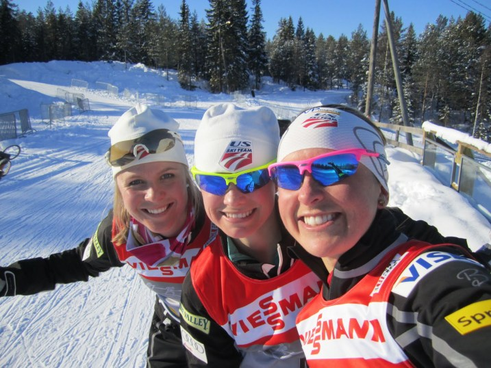 "Sadie Bjornsen, Jessie Diggins and Holly Brooks in ""Nordmarka"" (Photo HB)"