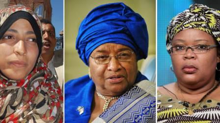 From left: Yemen's Arab Spring activist Tawakkul Karman, Liberian President Ellen Johnson Sirleaf and activist Leymah Gbowee