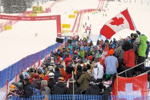 The crowd at the finish area at Lake Louise. Photo: Alpine Canada.