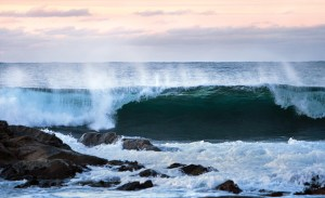 The ocean waves at Herøy in Nordland. Official length of the Norwegian coastline is 103,000 kilometers (64,000 miles).
