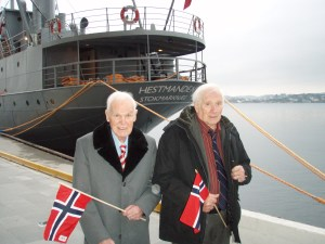 Olav Vedvik and Alfred in front of the Hestmanden. Photo courtesy Lori Vedvik.