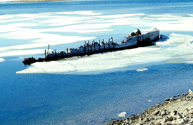 The wreck of Maud near Cambridge Bay in Canada's Nunavut province. The Maud was built to sail through the Northwest Passage, but the expedition did not go as planned. It sank in 1930, and is set to return to Norway in 2013. Photo: Wikimedia Commons