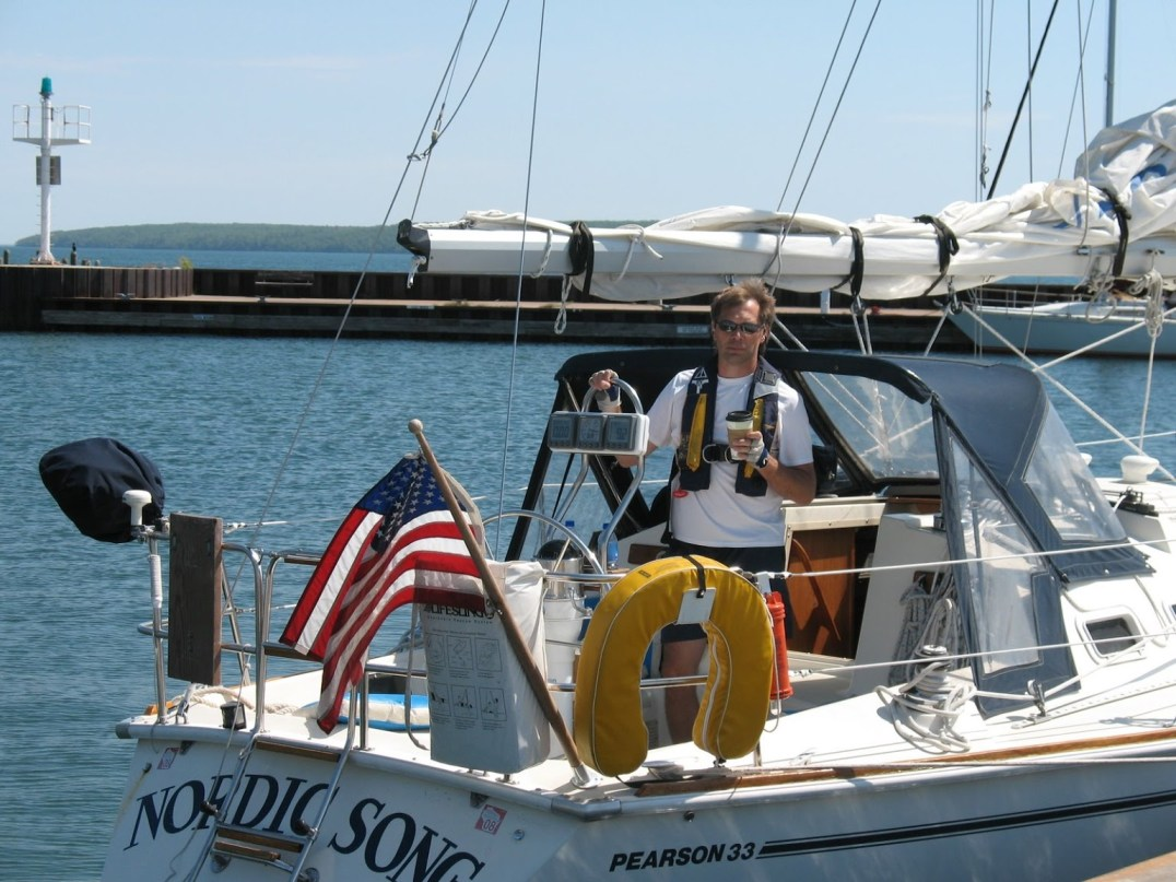 """Photo: Jennifer Larson The """"Nordic Song,"""" a Pearson 33 sailboat, docked in Bayfield, Wisc. following a 5-day cruise through the Apostle Islands of Lake Superior. Norwegian-American David Larson proudly captains this vessel!"""