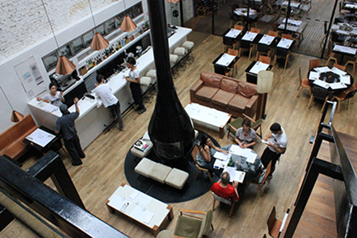An aerial view of the bar.