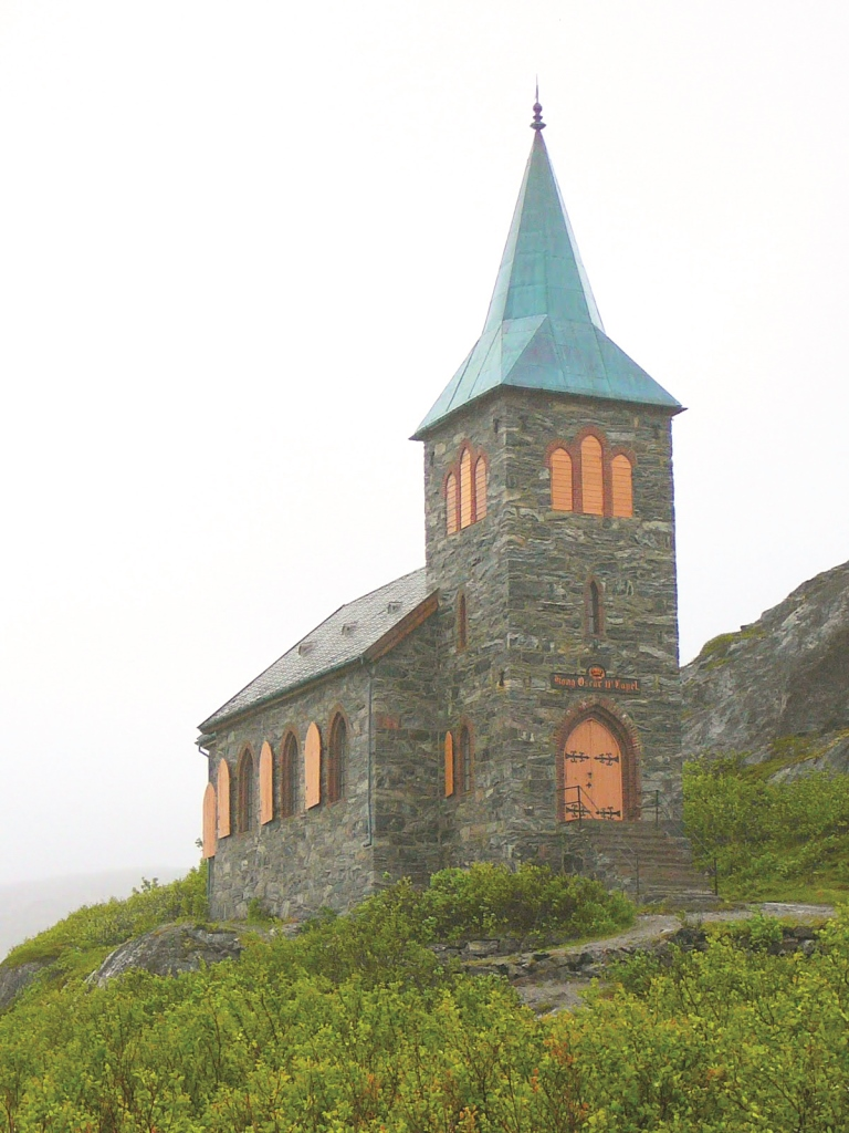 Photo: John W. Barry  King Oscar II Chapel sits as sentinel over land and sea. It was once whitewashed for even greater visibility.