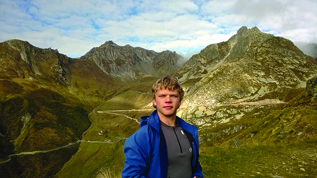 Photo courtesy of Øystein Rivrud  Øystein's son Nils travels the Roman road, the stunning Alps in the background and all around them.