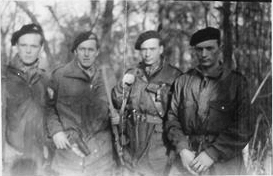 Photo: Rolf Herstad From left: Odd A, Anderson (Christopher Mission 3/4 Sept. 44 and RYPE), Ka O.C. Johansen (Percy Red July 31/ Aug. 1 1944 and RYPE), Leif Eide (Percy Red and  China offensive operational to Hanoi French Indochina), Arne Herstad (Percy Red-China offensive).