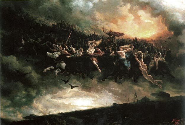 Photo: Wikimedia Commons Peter Nicolai Arbo's Åsgårdreien depicts tortured sould battling in the heavens.