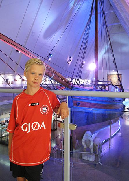 Photo courtesy of Hedvig Simonsen Bourbon  Lucas at the Fram Museum in his Gjøa jersey.