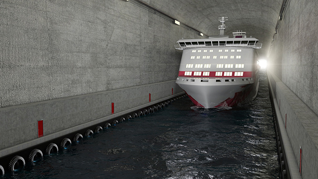 Photo: Appex / Norwegian Coastal Administration  Artist's concept of Hurtigruten coastal express liner in tunnel.