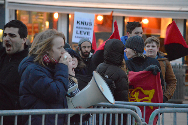 Photo: Michael Sandelson / The Foreigner Anti-racism protesters in Stavanger.