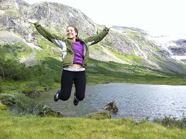 Photos: Britt Eva Heggheim Jillian jumps for joy near the base of the Briksdal Glacier.