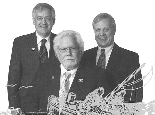 "Photo courtesy of Rofl Svendsen Torskeklubben's 2014 membership directory includes this photo of the ""gang of three"": Robert D. Gisvold, Boss; Jim Gaasedelen, Secretary; and Mark Gaasedelen, Treasurer."
