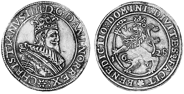 Photo: Anders Pedersen / Wikimedia Commons A Norwegian speciedaler with Christian IV of Denmark on the obverse and a crowned lion with a curved halberd on the reverse.