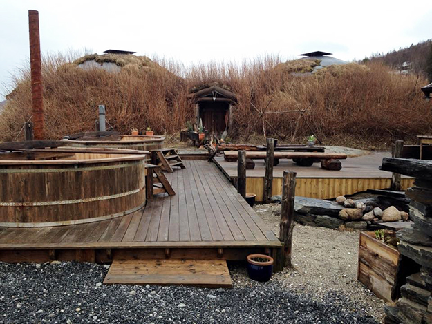 Photo: Mary Lokken A reproduction of a Viking Longhouse in Bodø, complete with outdoor hot tubs. The area can be used for conferences and parties.