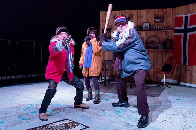 Photo: Jae Yi Photography / Scena Theatre Ron Litman, Nora Achrati, and Brian Hemmingsen in The Norwegians.