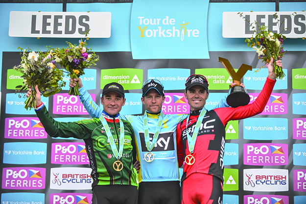 Photos: © A.S.O. / G. Demouveaux  Nordhaug in the center of the podium with the overall win, flanked by Samuel Sanchez (right) in second and Thomas Voeckler in third place.