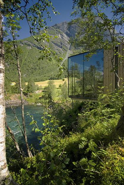 Photo courtesy of Juvet Landscape Hotel At this hotel, nature is built into the experience. With so much to see and do in the area, most travelers spend their afternoons exploring, but even without leaving their rooms they can see quite a lot.