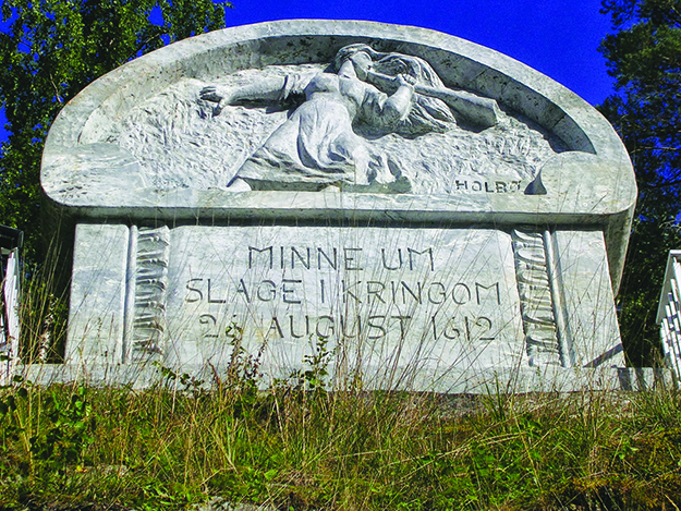 Photo: Wikimedia Commons A memorial marks the site of the August 26, 1612, Battle of Kringen, in which Norwegian farmers and peasants, warned by Pillar-Guri, repelled invading Scots.