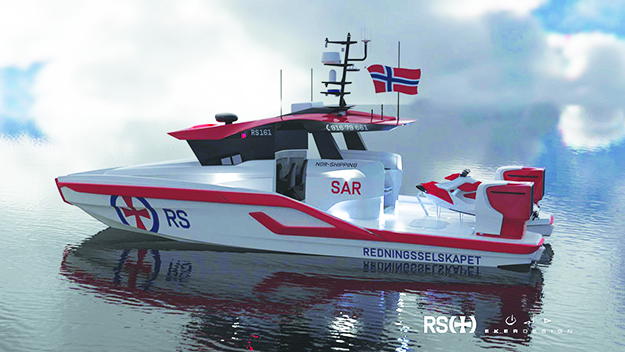 Photo: Redningsselskapet New sea rescue boat donated to Norway by Nor-Shipping.