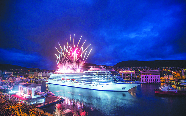 Photos courtesy of Viking Cruises The ship's christening in 2013 was a spectacular event.